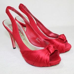 White House Black Market Red Slingback Satin Heels